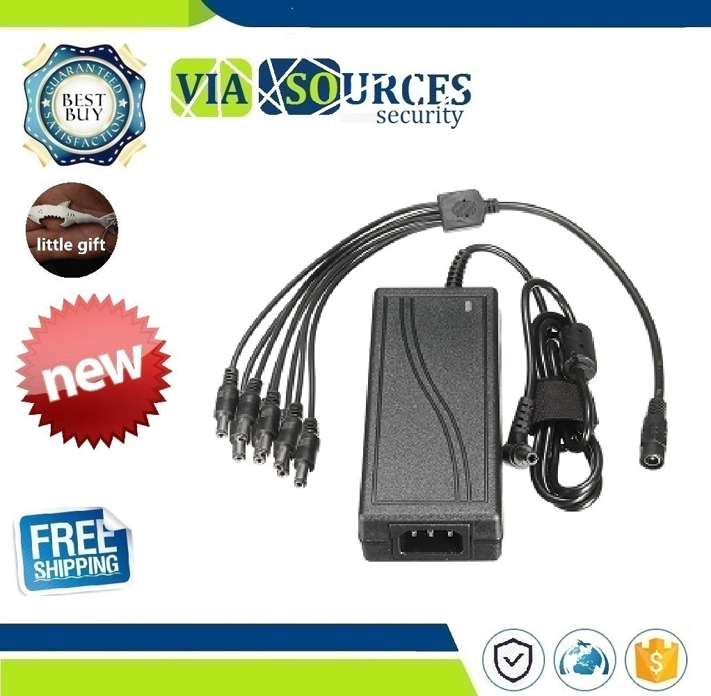 12V 5A 60W Power Supply Charge Adapter 8 Way Splitter Cable for LED Strip CCTV