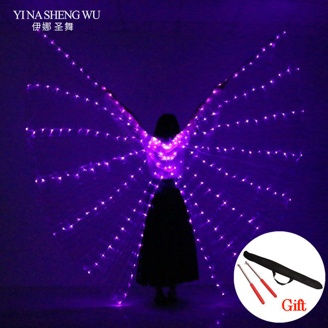 LED Stage Performance Prop Women Dance Girls LED Luminous ISIS Wings Light Up Wing Costume LED Open Style Wings With Sticks