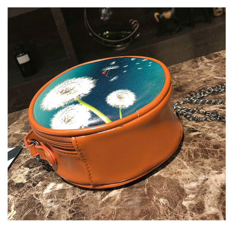 Casual Women Crossbody Bags Female Handbags Messenger Bags Floral Printing Dandelion Chain Tassel Round Bag Zipper Mini Cute