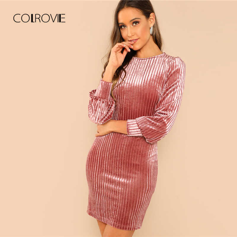 6798cabd2159d Detail Feedback Questions about COLROVIE Bardot Velvet Bodycon Dress ...