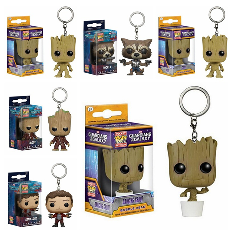 FUNKO POP Pocket Pop Keychain Official Guardians Of The Galaxy Groot Rocket Action Figure Collectible Model Toy Christmas Gift