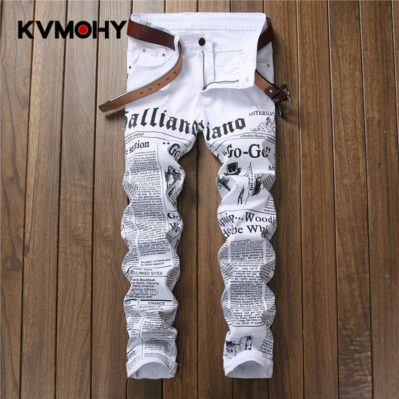 New Jeans Men Casual Hiphop Pants Printing Design White Straight Jean For Male Denim Trousers Streetwear Men's Biker Jeans