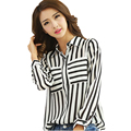 pockets women tops and blouses 2015 new fashion chiffon blouse striped office long sleeve shirt vintage plus size woman clothes