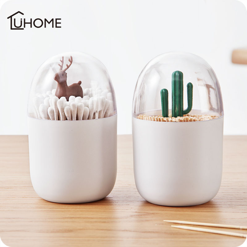 Organizer Case Storage-Box Toothpicks-Holder Table-Decor Animal-Tree Plastic Creative
