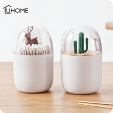Creative Animal Tree Toothpicks Holder Cotton Swab Box Bud Case Home Table Decor Plastic Storage Organizer