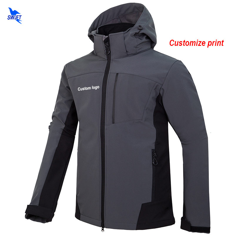 Custom Logo 2018 New Autumn Men Softshell Hiking Jackets Outdoor Camping Trekking Climbing Hooded Coat Waterproof