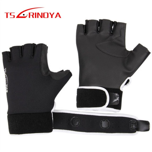 Special Price TSURINOYA Half Finger Neoprene CR PU Fishing Gloves L Size Non-slip Durable Waterproof Breathable Winter Fishing Tackle Gloves
