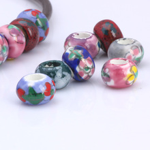 OlingArt 13*8MM 10pcs/lot Mixed colors Hand Painted Ceramic round hole 5mm beads Necklace Bracelet DIY Jewelry Making Leather