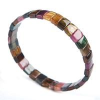 Genuine Natural Crystal Rectangle Beads Colorful Tourmaline Stone Fashion Stretch Bracelet Women Gift 9 7 4mm
