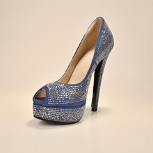 2015 Fashion Faux Leather Women's Stiletto  Heel Peep Toe Platform Shoes Decorated With Rhinestone Solid High Thin Heels