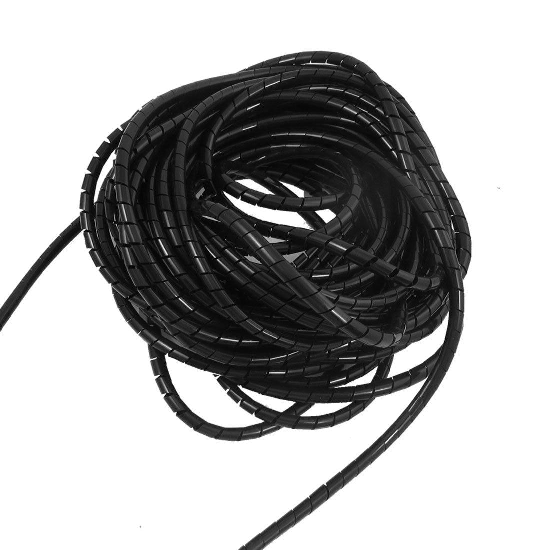 THGS-6mm Outside Dia 6.4M PE Polyethylene Spiral Cable Wire Wrap Tube Black 11m long flexible black pe polyethylene spiral cable wire wrap tube 8mm