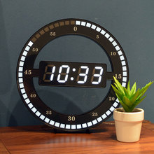 Creative Mute Hanging Wall Clock Black Circle Automatically Adjust Brightness Digital Led Display Desktop Table