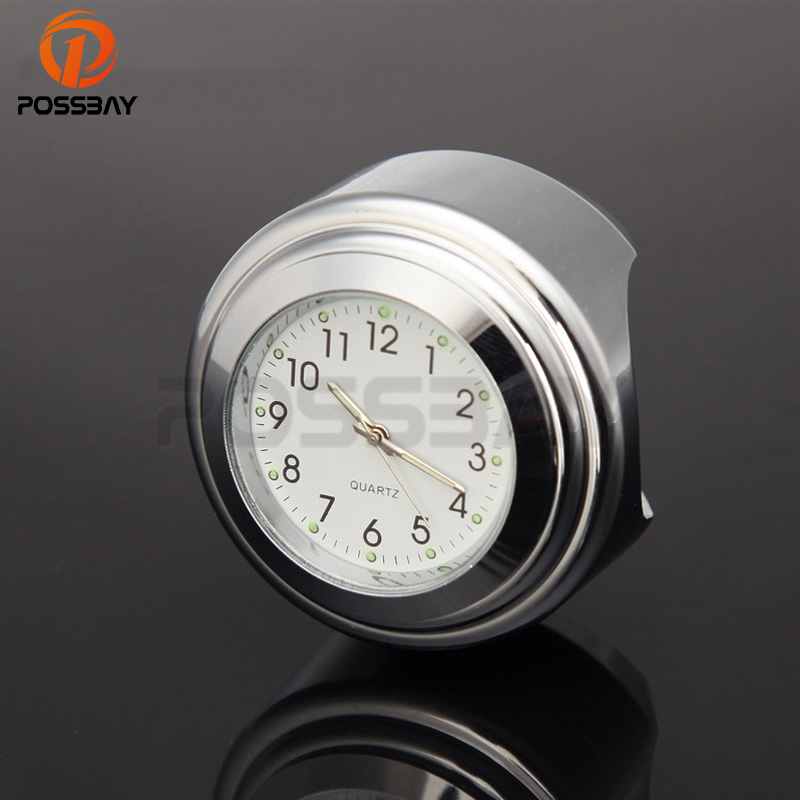 POSSBAY 7/8 1 Universal Motorcycle Scooter Handlebar Chrome Case White Dial Clock Temp Thermometer For Honda Harley Yamaha ATV