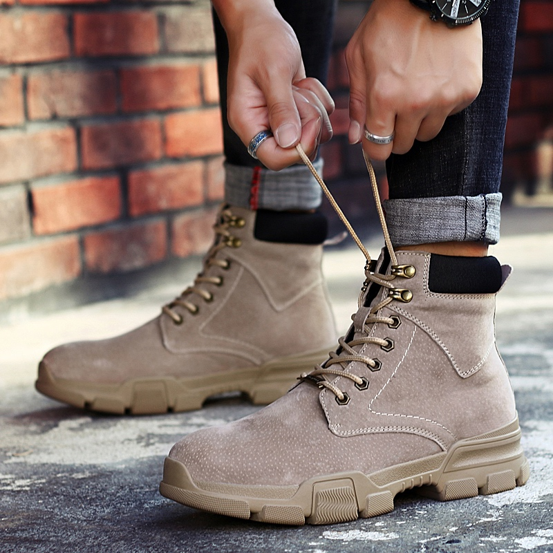 De Mans Bottes Chaussures black Gris Confortable Mâle Pour Hommes Travail Épaisse Mens Noir Beige gray Martens Lacent D'hiver Sécurité Semelle ISrqnW15If