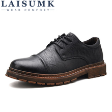 LAISUMK Retro Brand Autumn Style Leather Men Formal Oxford Shoes MenS Lace Up Solid Color New Breathable Simple Flats