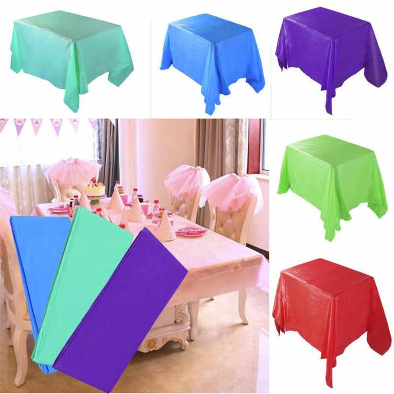 1 pc 137*183cm toalha de mesa descartável plástico cor sólida casamento festa de aniversário capa de mesa retângulo pano limpar cobre venda