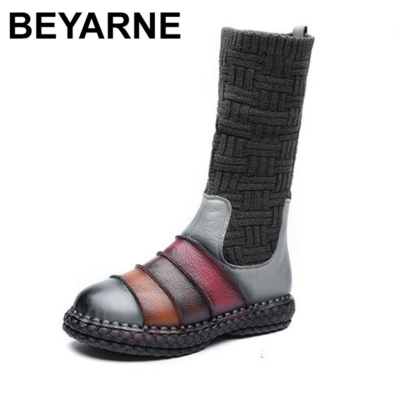 BEYARNE Knitting Ankle Boots Genuien Leather 2018 Winter Platform Female Vintage Snow Boots Retro Handmade Women