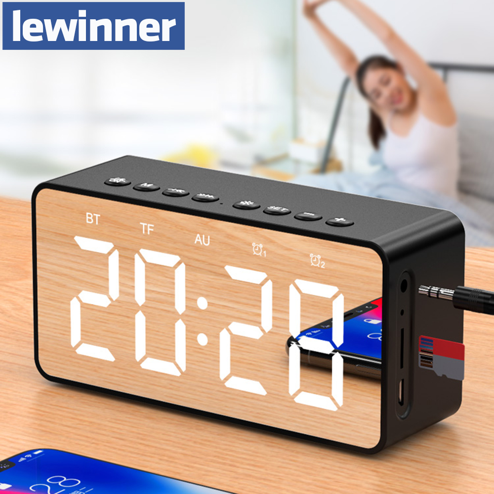 Lewinner Portable Bluetooth Speaker Super Bass Wireless Stereo Speakers Support TF AUX mirror Alarm Clock for Phone Computer