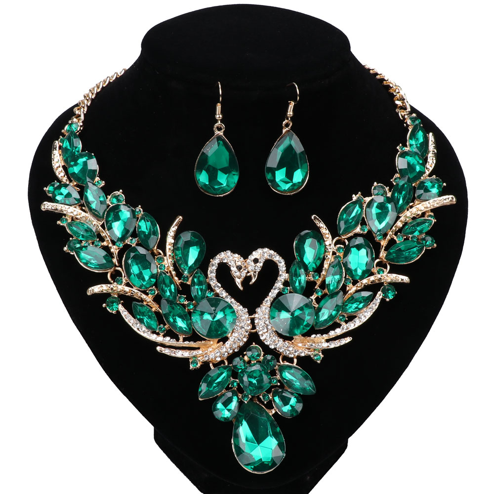 Luxury Gold Color Green Crystal New Collier Femme Double Swan Statement Necklace Earring For Women Party Wedding Jewelry Sets