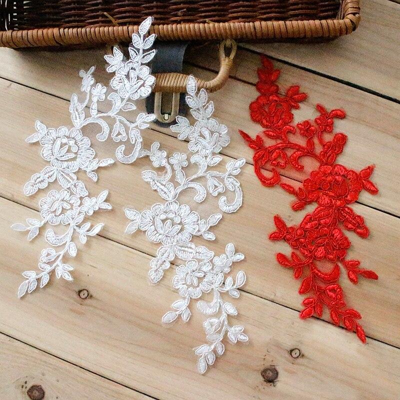 Вышитая кружевная основа для свадебного платья своими руками, белый/красный/белый/серебристый цвет, 4 шт./2 пары, 24,5*9,5 см