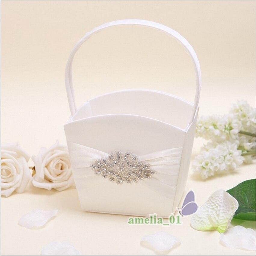 4 pièces/ensemble Top qualité Satin strass décor de mariage anneau oreiller fleur panier jarretière livre invité stylo ensemble mariée produits fournitures - 4