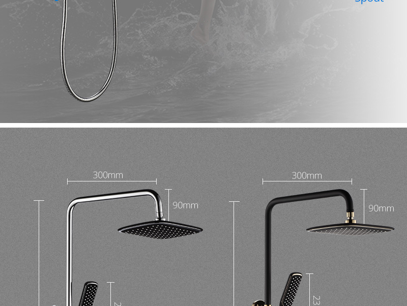 hm Black Rainfall Thermostatic Shower Faucet Set Single Lever Brass Mixer Valve Rack Bath Shower Mixers Rack shower set (6)