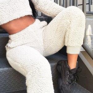 Image 4 - Autumn Winter Faux Fleece Fur Jogger Pants Women Beige Lamb Wool Sweatpants Ladies Velvet Trouser Loose Fuzzy Warm Pants