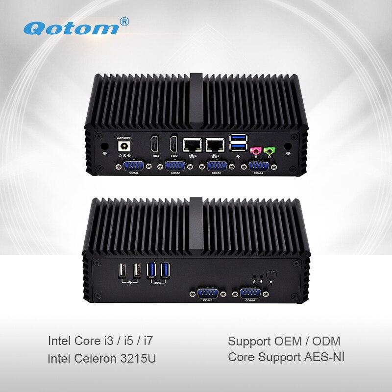 Qotom-Q300P Qotom Mini PC avec WiFi 2 Ethernet Gigabit double cœur Celeron/Core i3/i5/i7 processeur ordinateur de bureau sans ventilateur