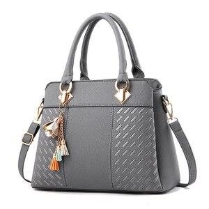 أزياء حقائب اليد الشرابة بو الجلود حقيبة اليد أعلى-مقبض التطريز Crossbody حقيبة حقيبة كتف سيدة بسيطة نمط حقائب اليد