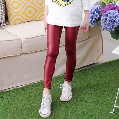 2019 Çocuk Ilkbahar Sonbahar Kızlar Pu Pantolon Ince Ayaklar Tayt çocuk deri pantolon