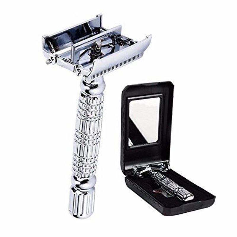 Men Shaving Safety Razor Chrome Alloy With Packing Sliver Unscrew Double Sides Turret Manual Butterfly Open Shaving Razor
