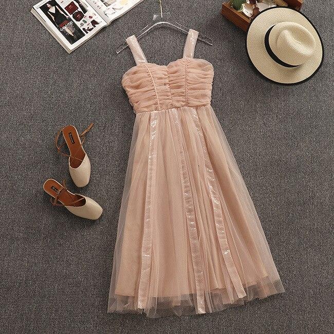 2019 Summer New Arrival French Style Super fairy Temperament Sweet Mesh Sling Women Dresses Tulle Vestido Halter Free Shipping