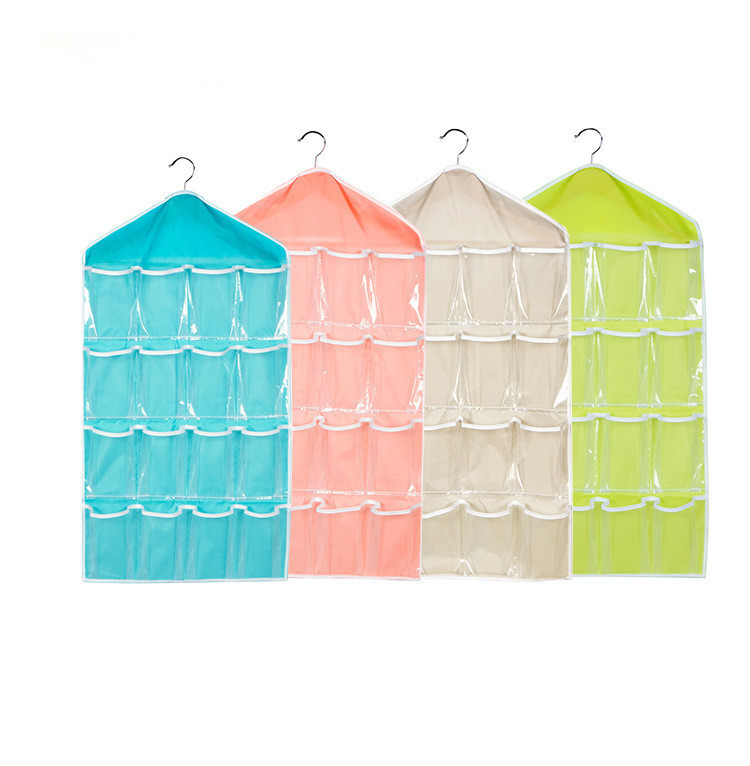 Hanger Tidy-Organizer Storage-Case Shoe-Rack Hanging-Bag 16-Pockets Over-Door Clear 1PC