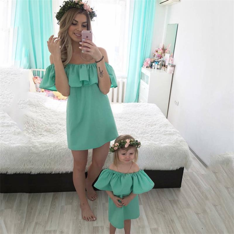 Summer Mother And Daughter Family Matching Dress Outfits Petal Sleeve Off Shoulder Solid Women Girls Clothes Dresses