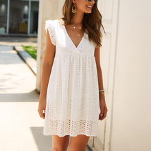 WHOSONG Elegant Lace Hollow Out Women Dress Ruffles Pleated Cotton White Short Dresses Casual Sexy V Neck Holiday Mini dress
