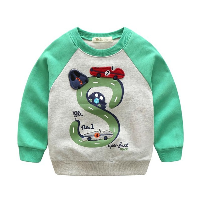 2017 spring new children Sweatshirts baby boys Autumn Unisex Collar Cartoon Full Sleeved Casual Patchwork Sweatshirts hoodies