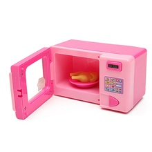 Dollhouse Mini Cute Pink Microwave Oven Kitchen Accessories Pretend Role Play Toy Educational For Children Playing Toys