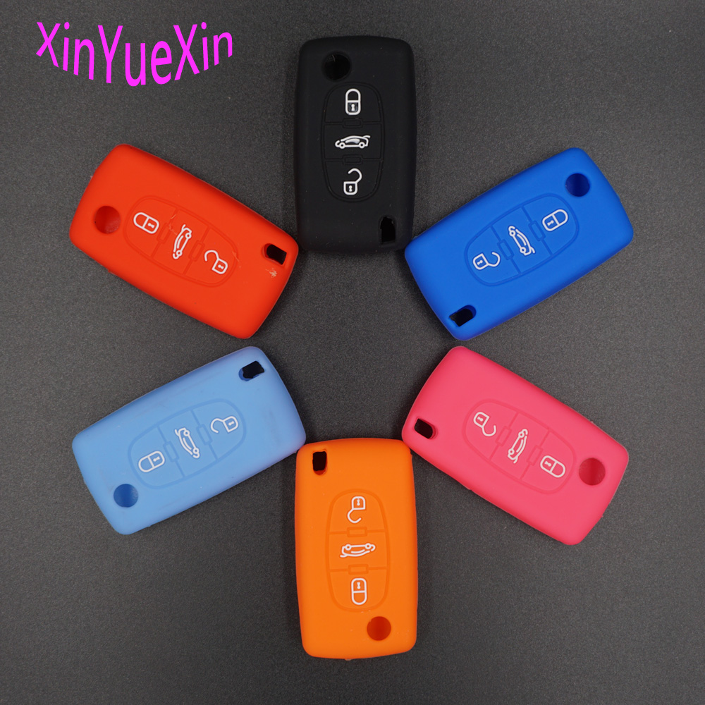 Xinyuexin Silicone Car <font><b>Key</b></font> Cover FOB Case For <font><b>Peugeot</b></font> <font><b>208</b></font> 207 3008 308 408 407 307 206 Flip <font><b>Remote</b></font> Car <font><b>Key</b></font> Car-Stying image