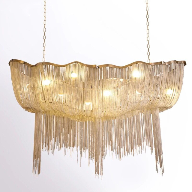 الحديثة الفضة الألومنيوم سلسلة أضواء الثريا الفاخرة الهندسة تصميم الفاخرة سلسلة شرابة مصباح ل فندق ديكور مطعم