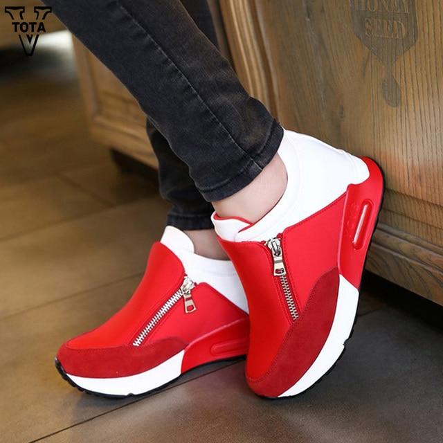4b2edddb12 VTOTA Moda Mulher Mulheres Sapatos Casuais Das Sapatilhas Tenis Feminino  Aumento Interno Sapatos Femininos Zipper Sapatos