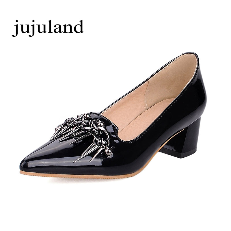 Spring/Autumn Women Pumps Shoes Med Heel Square Heels Pointed Toe Slip-On Fashion Casual Shallow Solid Metal Decoration enmayer mirror med heels crystal flowers square heels pointed toe dress slip on pumps elegant shallow spring8autumn woman shoes