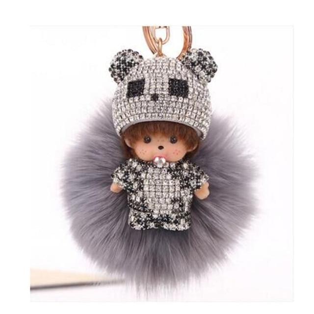 Monchichi pompom pele chaveiro bola de cristal presente de ano novo carro Chave Pele Cadeia Bolsa Das Mulheres charme Pingente de Natal para as crianças