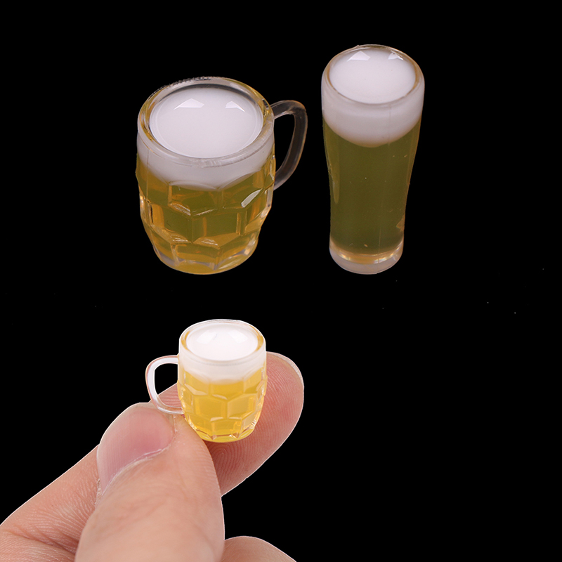 2pcs 1:12 Scale Diy Parts Plastic Transparent Goblet Miniature Mini Wine Beer Cup Dollhouse Craft Home Decoration Glass Model 2019 New Fashion Style Online Home