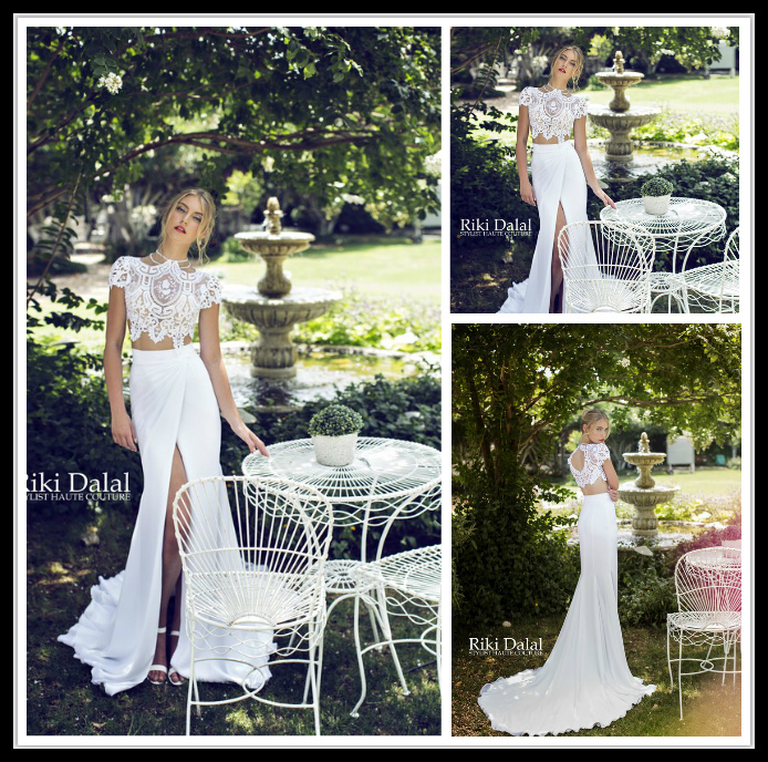 2015 White Mermaid Wedding Dresses Lace Sleeve Short Two