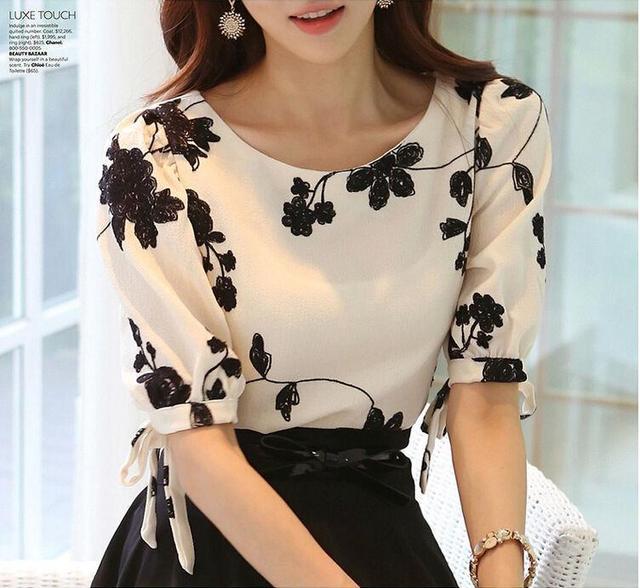 ae15cbb59e Mulheres Camisa Verão Tops Floral Preto Bordado Branco Chiffon Blusas Plus  Size Arco Meia Manga Da