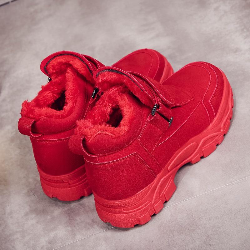 Confortable Chaussures red Balck Peluche Froid Épais Hiver 2018 Ultraléger Protection Fond Nouvelle Chaud Au Sneakers Garder Femme Coton S7qwa5