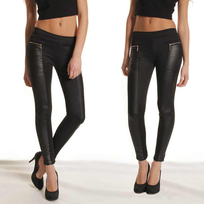 3870cb68f7678 New Spring PU leather Leggings Zipper Pockets Design women's pants Elastic  Waist Stretchy Skinny Trousers Plus