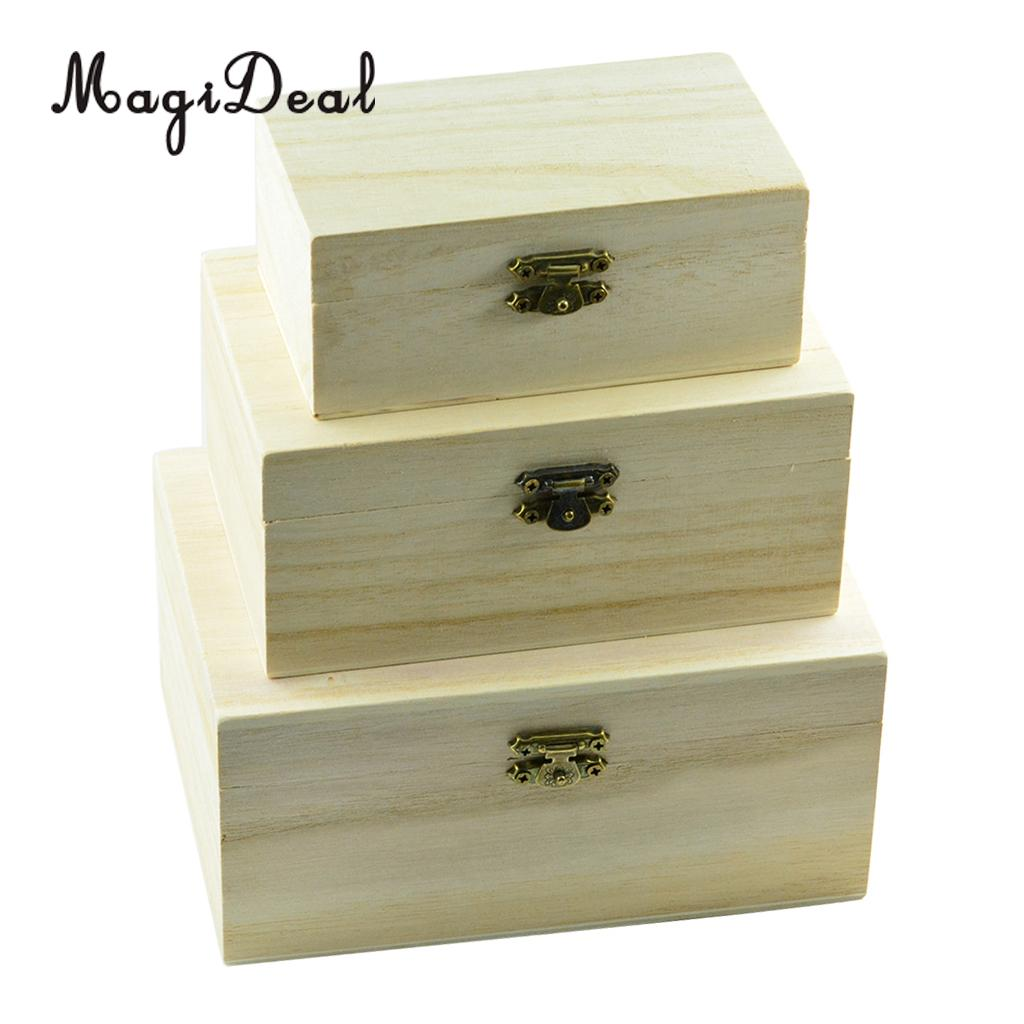 Small Wooden Jewelry Box Heart//Square Shaped Storage Box Case DIY Wood Craft