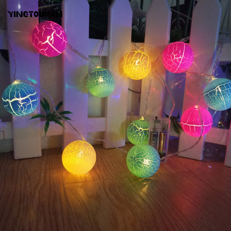 YINGTOUMAN 2017 NEW Crack Ball Type Battery Lamp 10LED 1.8M String Light Christmas Holiday Wedding Party Decoration Lighting