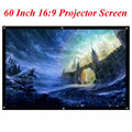 Portable 60 Inch 16:9 Black White PVC Fabric Matte Projector Projection Screen For Home Theater Movies Classroom Training